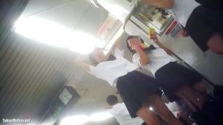 駅のホームで女子高生3人が話をしていて、足元に隠しカメラがあり、3人の姿とその中のパンチラを撮るw