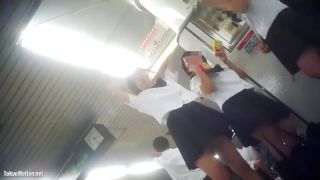 駅のホームで女子高生3人が話をしていて、足元に隠しカメラがあり、3人の姿とその中のパンチラを撮る。